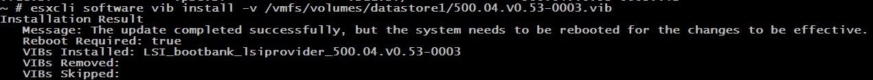копируем vib на сервер и подключаемся по SSH
