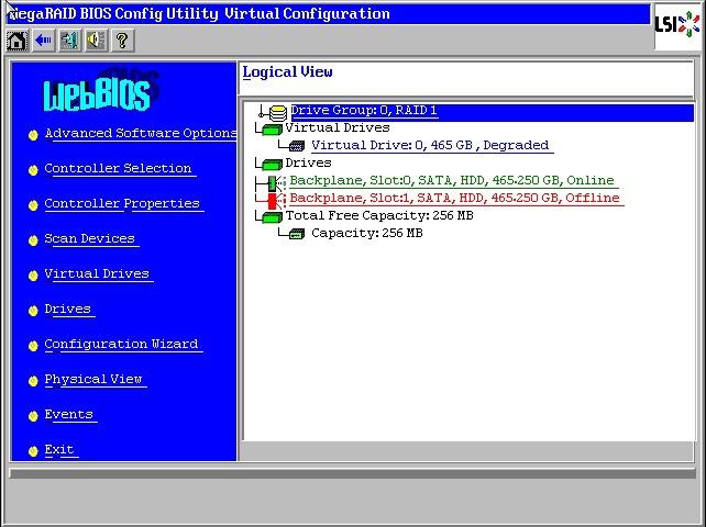 Отключаем диск в WebBIOS